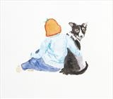 Girl and Tess by Claire Meharg, Drawing, Watercolour